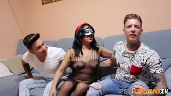 Hot married MILF fucks two studs while her hubby is away!