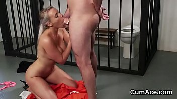 Foxy honey gets cum load on her face swallowing all the charge thumbnail