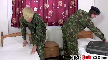 Young Euro soldiers fucking in barracks sleeping room