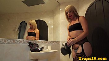 Assfucked Tranny In Sexy Lingerie Cums