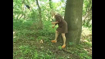 Mature well-padded blonde Sharone Lane seduced young guy in the forrest