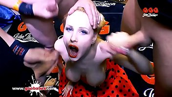 Super Hot busty babe Angel Wicky gets her massive tits covered with cum and her tight pussy fucked hard in a huge bukkake gangbang! German Goo Girls