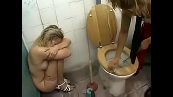 Extreme porn slave toilet Cute blond lady get rough treatment on a dirty toilet, spitting, piss and cum