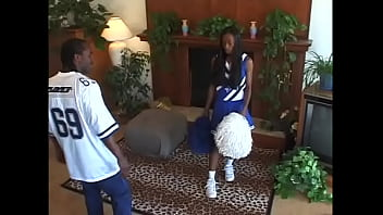 Pretty black cheerleader Africa was rehearsing her club song too loud waiting for her teammate and attracked unwanted attention of her brother who tried to have a rest after night shift