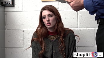 Redhead thief Aria Carson fucked so hard because of felony after she swallowed cock