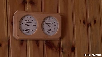 Busty bombshell Angel Wicky titty sucked and double penetrated in the sauna thumbnail