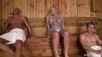 Busty bombshell Angel Wicky titty sucked and double penetrated in the sauna 13 min