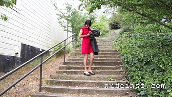 Nude in San Francisco:  Hot Asian Girl Walks Naked Up Public Stairs 2 min