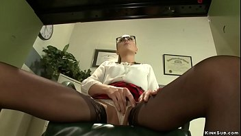 In medical office hot brunette slut Roxy Rox solo masturbates under the desk then in gyno bench fucks machine and vibrates clit and squirts