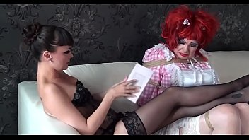 Femdom shemale maids Dizzy in humiliating sissy maid training