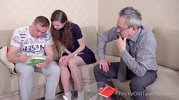 Tricky Old Teacher - Babe comes to study but gets a double fuck