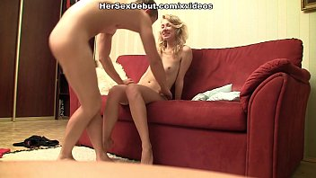 Hot blonde babe is moaning from hard fuck on the sofa