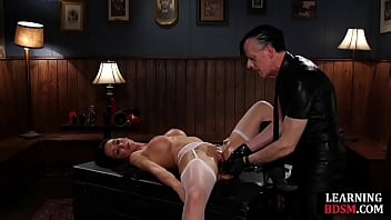 BDSM Instructor using his toys on busty babe making her squirt