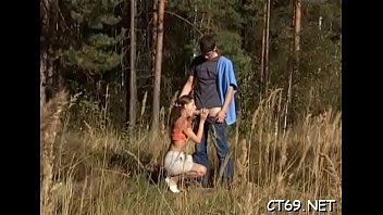 Our skillful teen honey does her best to please her partner