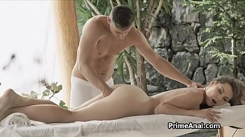 Ass fucking curvy curly bombshell during massage
