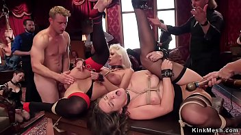 Blonde and brunette anal bdsm group