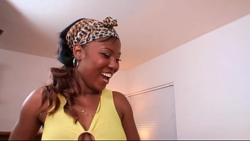 Ebony babe sucks on a monster cock, then fucked hard and long on the couch thumbnail