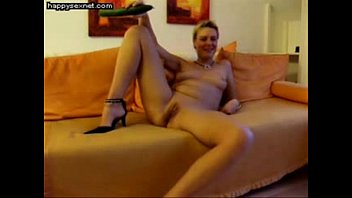 Cute wife fully nude masturbates with huge cucumber