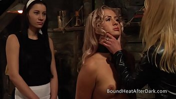 Locking bdsm chain collar Pleasure and pain: lesbian slave in hands of merciless dominant mistress
