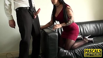 Brunette pantyhose poser - Mouth fucked sub pounded