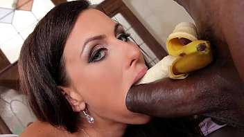 Interracial bangers Mea Melone deepthroats a whip cream covered black cock