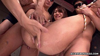 Pupett bondage Small titty asian slut bdsm treated by the fellas