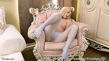 Cute blonde strips wanks in pantyhose