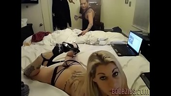 an amazing slave fucks her shaved pussy on camera