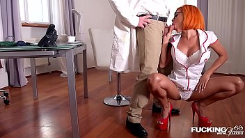 Nerdy redhead Rose Valerie fucked by patient and doctor at the DP clinic