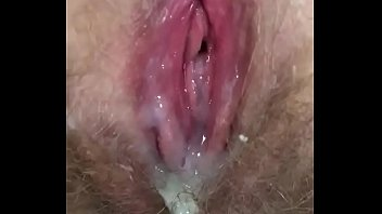 Hairy wife dripping cum Wife pussy filled with cum