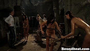 Naked And Busty Lesbian Slaves Working Hard