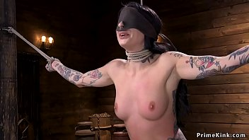 Alt slave in hogtie made to squirt