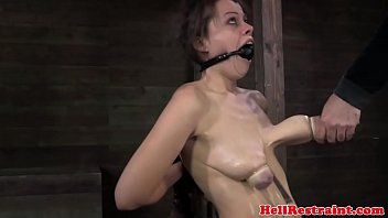 Breast pump cylinder Ballgagged bdsm fetish sub tits pumped