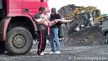 Construction Site Public Gangbang Threesome Sex Orgy With A Cute Blonde Teen Girl With Nice Perky Tits And 2 Hung Guys With Big Dicks Shoving Their Cocks In Her Mouth Deep Throat Blowjob Action And Vaginal Intercourse Facking Her Young Tight Wet Pussy