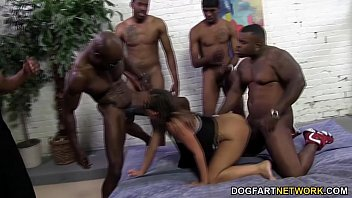 Huge cock side by side Jamie jackson gets gangbanged by big black cock