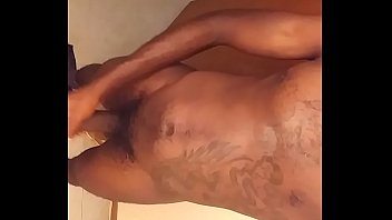Ebony male jerk his huge cock