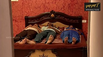 Indian House wife sharing bed with her Husband friend when h
