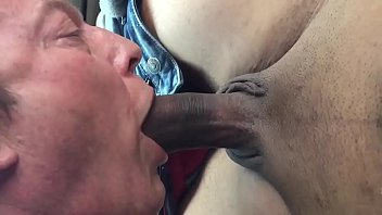 Latino gets his thick uncut cock sucked in my truck and cums in my mouth