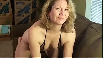 Housewife poses and plays for first time for hubby