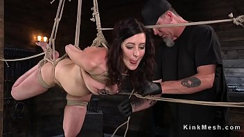 Hogtied brunette nipples tormented