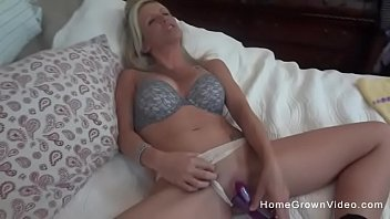 Wifes favorite vibrator Busty blonde housewife masturbating then sucking cock
