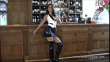 Sexy latex dress Uniform latex babe olivias fetishwear and long rubber boots kink of beautiful br
