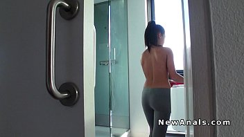 Petite gf takes anal after shower