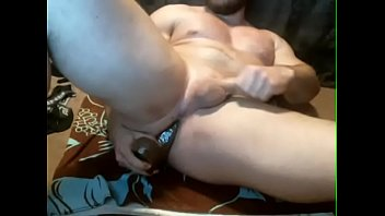 Fitness gay man Straight muscle man fucks himself with dildos