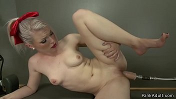 Big ass tied blonde machine banged