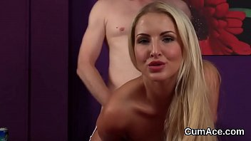 Wicked bombshell gets cum shot on her face swallowing all the semen