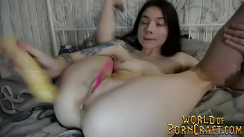 Sexy young tattooed girl fucks her ass with dildo