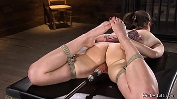 Fucking machine bdsm - Laid in bondage brunette takes machine