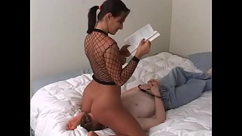 Sandra Romain dominates her male slave by s. him with her pussy and ass and making him tongue fuck her ass until she cums