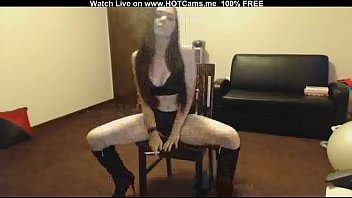 Brunette In Boots Smoking And Masturbating